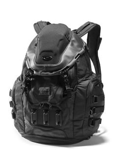 """Stealth Black """"Kitchen Sink"""" Backpack by Oakley - offers every conceivable innovation, from a mobile phone pocket, a compression molded compartment for eye wear, inner organiser, compartment at the bottom with drainage ports to a padded sleeve that holds a laptop up to 17""""."""