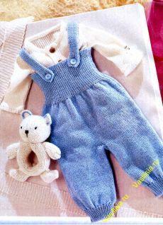 Голубой комбинезон для новорожденного спицами | Вязание спицами и крючком: