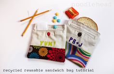 Full tutorial for making a reusable sandwich bag out of a pair of old pants, but you could easily make it a bit longer and make it a little purse, or even longer and make it a bag. Add on stamps and viola!
