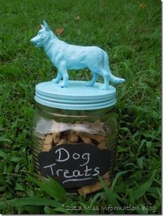Make this cute dog treat jar with chalk board labels and a plastic toy dog