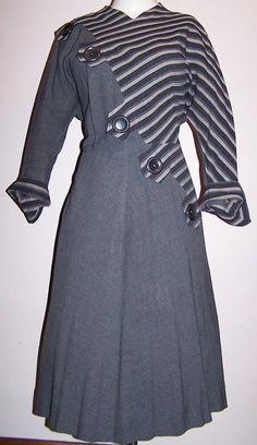 CIJ SALE Vintage 40s gray gab deco button stripe day dress by TMHL, $108.00