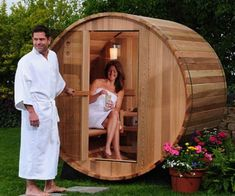 Transform your backyard into a world class spa by installing this two person canopy barrel sauna out back. This Canadian Red cedar sauna's design maximizes seating space and features accents like a small porch so you can relax when you step out. Diy Sauna, Sauna A Vapor, Barrel Sauna, Canopy Swing, Outdoor Sauna, Sauna Design, Steam Sauna, Small Porches, Sauna Room