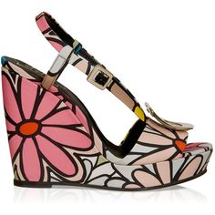 Roger Vivier - Wedge Sandals in Canvas ($785) ❤ liked on Polyvore featuring shoes, sandals, ankle tie sandals, wedges shoes, ankle wrap sandals, buckle sandals and multi color wedge sandals