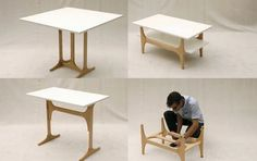 3StyleTable by David Koch | Tool-free conversion from coffee table to desk to dining table. Lovely!