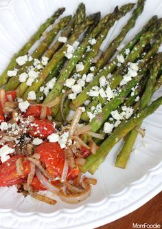 Balsamic Roasted Asparagus & Tomato with Blue Cheese (easy appetizer or light vegetarian entree)