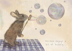 Norman A5 or A4 Rabbit Blowing Bubbles Illustration Print on Etsy, $11.21