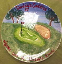 Daddy's Caddies footprint art created at Playful Potter