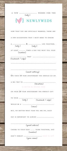 Ad Lib Cards for Weddings. Very sweet and fun idea.