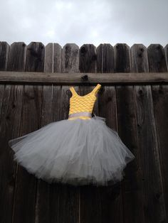 yellow and gray flower girl tutu dress Sunshine on a by Qt2t, $79.99