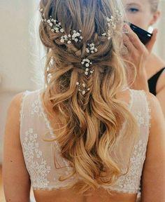 peinados de novia, pelo largo, ondulado con pequeña trenza francesa, decoración de pelo
