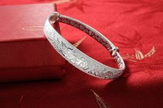 Women's 999 Sterling Silver Dragon Phoenix Carved Bangle Bracelet 27g Weight for Wedding Gift