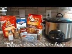 CrockPot Loaded Cheesy Bacon and Potato Soup Recipe Crockpot Loaded Potato Soup, Cheesy Potato Soup, Crock Pot Potatoes, Bacon Potato, Crock Pot Soup, Crock Pot Slow Cooker, Crock Pot Cooking, Freezer Cooking, Nutritious Snacks