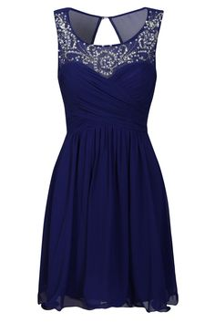 Little Mistress Cobalt Embellished Neckline Prom Dress- perfect for a cocktail dress too! That's what I would wear it for; I'm not much of a short prom dress girl.