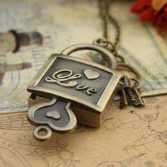 Vintage lock antique bronze pocket watch key  by luckyvicky