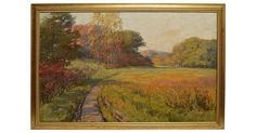 "Impressionist-style oil painting of a panoramic landscape by Conde Wilson Hickok. Oil on canvas, circa 1920. Signed lower right, ""Conde Wilson Hickok"". Displayed in a giltwood frame, hanging wire..."