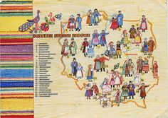 Map (released on a postcard) showing some of the most well-known regional costumes of Poland.You can find photos of the costumes with my list of regions :)(scan of the postcard viadewereldiskleinenmooi.blogspot.com)
