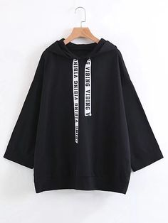 SheIn offers Slogan Strap Boyfriend Hoodie & more to fit your fashionable needs. Girls Fashion Clothes, Teen Fashion Outfits, Edgy Outfits, Korean Outfits, Mode Outfits, Cute Casual Outfits, Emo Fashion, Summer Outfits, Mode Kawaii