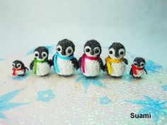 Micro Penguin Family 2  Tiny Miniature Penguins  Set of by suami