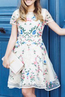Garden Embroidered Beige Organza Dress