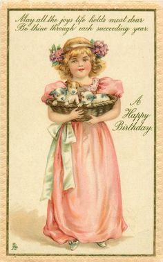 NEW YEAR GREETINGS girl in pink dress stands facing front carrying 4 puppies in wicker basket Birthday Postcards, Vintage Birthday Cards, Vintage Greeting Cards, Vintage Valentines, Vintage Ephemera, Vintage Postcards, Holiday Postcards, Vintage Labels, Victorian Pictures