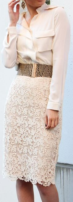 Love this lace pencil skirt!