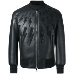 Neil Barrett Lightning Bolt Bomber Jacket ($1,735) ❤ liked on Polyvore featuring men's fashion, men's clothing, men's outerwear and men's jackets