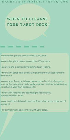 Cleanse your tarot deck