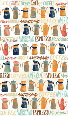 Considerations for Tall Pins and (one) Easy Way to create them — Ohn Mar Win Illustration Coffee Illustration, Pattern Illustration, Kitchen Themes, Kitchen Art, Kitchen Stuff, Coffee Drawing, Coffee Art, Coffee Grounds As Fertilizer, Retro Cafe
