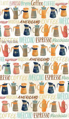 Retro coffee pot pattern BLOG — Ohn Mar Win Illustration