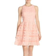 Aidan by Aidan Mattox Organza Shadow Stripe Lace Fit & Flare Dress (€115) ❤ liked on Polyvore featuring dresses, blush, floral fit and flare dress, pink dress, stripe dresses, striped floral dress and fit flare dress
