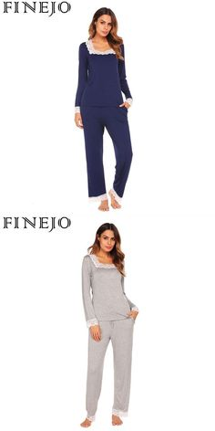 ea7b641224 Sleepwear sleeve set trim pajama neck long  amp  pants lace women square  shirt soft