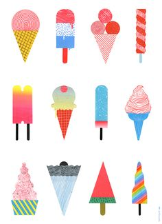 ice-cream illustration - Hye Jin Chung (print, graphic design, colour, palette) もっと見る