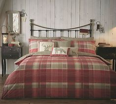 Country bedding Sets - Tartan Check Quilt Duvet Cover Bedding Set Country Christmas Cotton Stag New UK. Coverlet Bedding, Red Bedding, Comforter Sets, Luxury Bedding, Bedspreads, Bed Covers, Duvet Cover Sets, Bedroom Themes, Bedroom Decor