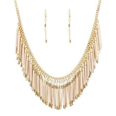 5,12€ - Jewelry Set Pendant Chain Resin Tassel Choker Statement Bib Necklace Earrings Four Colors - Fashion Max NO.1
