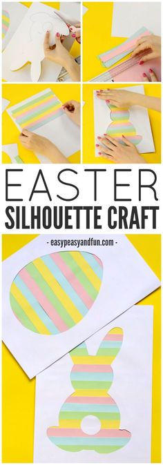This Easter silhouette craft is a fun craft for kids. Use different colors of paper or washi tape! Perfect for making Easter cards.