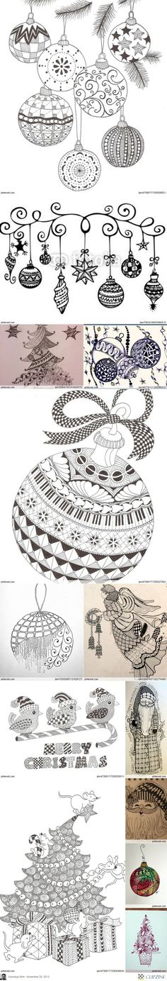 Christmas Zentangle Patterns, Christmas trees, ornaments, Santa, words, animals, angels, and stars. What about a Zentangle manger or even a cross?(Diy Ornaments Paper)