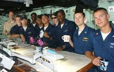 Troops drinking coffee from Holy Joe's Cafe