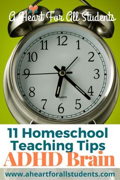 Homeschool mom friend!  Work with your child's ADHD brain and provide them an incredible education at home.  Homeschool teaching tips to effectively teach your child with ADHD.  How to use a clock to help your child learn?  Check out this post & grab the ADHD Teaching Tips download!  You can do this!  #adhdkids #homeschool #autism #learningdifferences Auditory Processing Disorder, Adhd Brain, Adhd Strategies, Autism Parenting, Occupational Therapist, Adhd Kids, Special Needs Kids, Parent Resources, Learning Disabilities