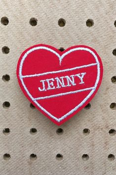 A varsity style custom name patch for your jacket or bag. Go back to school in style, with these colourful and super cool heart patches, embroidered with a name of your choice. Custom Name Patches, Embroidered Name Patches, Retro Kids, Museum Wedding, Back To School Supplies, Going Back To School, Retro Aesthetic, Wool Felt, Ship