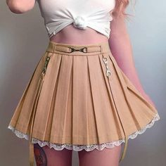 Pleated Tennis Skirt, Kawaii Fashion, Japan Fashion, White Lace, Lace Skirt, Cute Outfits, Skirts, Clothes, Skirt With Suspenders