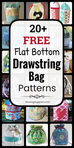 Drawstring Bag Patterns with Flat Bottoms. free sewing patterns, tutorials, and diy projects for flat bottom drawstring bags. Sew small and large styles, simple and easy bags, lined and unlined bags in both round and square bottom styles. Drawstring Bag Diy, Drawstring Bag Pattern, Drawstring Bag Tutorials, Easy Sewing Patterns, Bag Patterns To Sew, Diy Sewing Projects, Sewing Tutorials, Sewing Hacks, Quilted Tote Bags