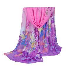 New Women Chiffon Scarf Contrast Leaves Print Long Shawl Colorful Fashion Pashmina