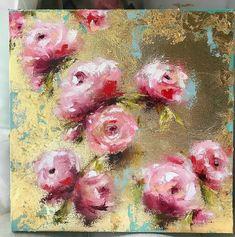 Amy Elizabeth fine art pink aqua gold flowers shabby chic painting