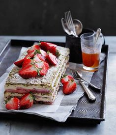 Strawberry dessert recipe feature including strawberries and cream semifreddo, strawberries in moscato syrup, strawberry and almond shortcake crumble and more.