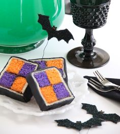 "Sprinkle Bakes: ""Batty"" Battenburg Cake and Ghoulish Green Punch"