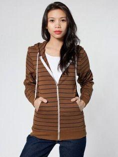 American Apparel Unisex Striped Fleece Zip Hoody $45.00