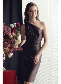 Sheath Matte Satin Bridesmaid Dress With Sleeveless Pick-Ups