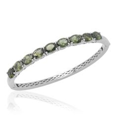 Liquidation Channel | Bohemian Moldavite (Ovl) Bangle in Platinum Overlay Sterling Silver (Nickel Free)