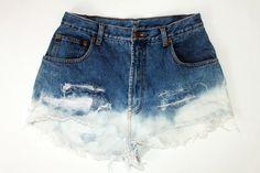 bleach tipped denim shorts