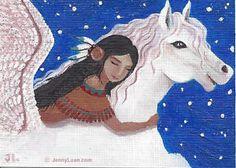 "ACEO TW Nov Fantacy art, Native girl, Pegasus ""Dream"""